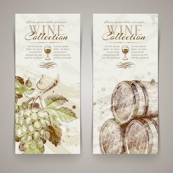 Banners verticales vintage con uvas y barriles dibujados a mano