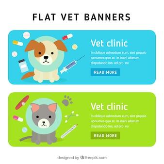 Banners del veterinario planas con medicinas