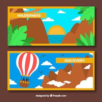 Banners viaje de aventura con diseño plano