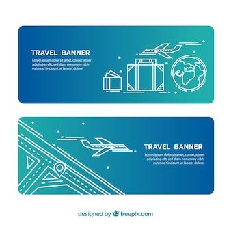 Banners de viaje con avión y equipaje dibujados a mano