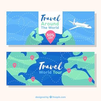 Banners de viaje con avión y mundo dibujado a mano