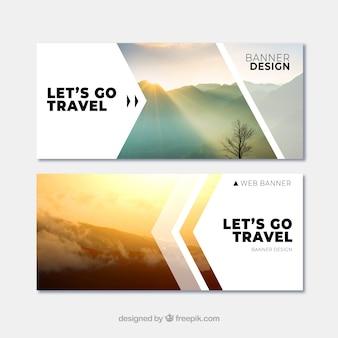 Banners de viaje con destino