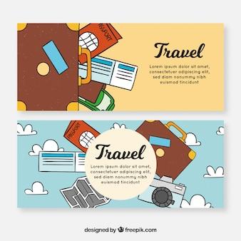 Banners de viaje con elementos dibujados a mano