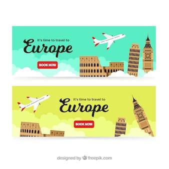 Banners de viaje a europa con diseño plano