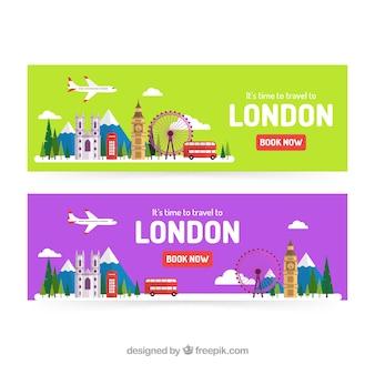 Banners de viaje de londres con diseño plano