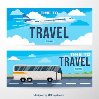 Banners de viaje planos con avión y autocar