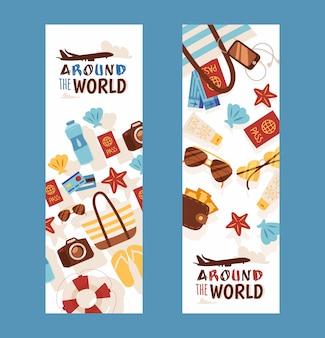 Banners de viaje de vacaciones de verano folleto de agencia de viajes con iconos de estilo plano de accesorios de vacaciones