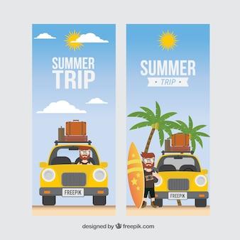 Banners de viaje de verano con coche