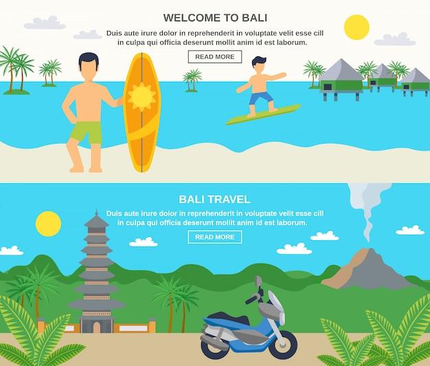 Banners de viajes de bali