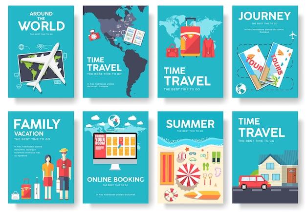 Banners de viajes planos con tipografía