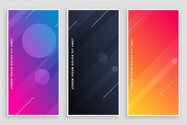 Banners vibrantes modernos conjunto