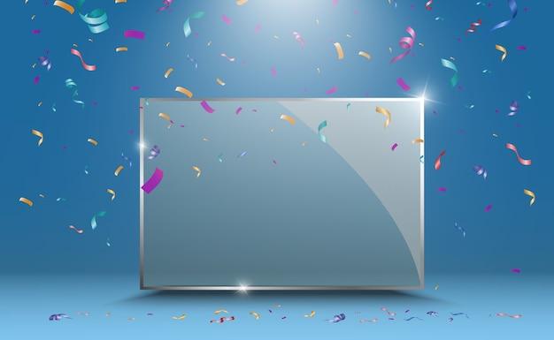 Banners de vidrio de vector sobre fondo transparente. marco de vidrio transparente vacío. fondo limpio.