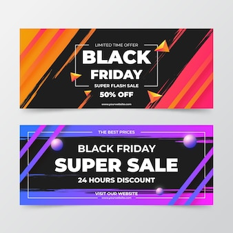 Banners de viernes negro degradados Vector Premium