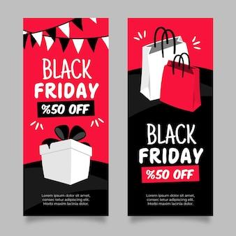 Banners de viernes negro dibujados a mano