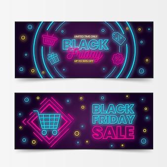 Banners de viernes negro con diseño de neón