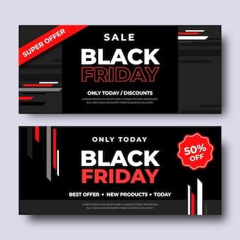 Banners de viernes negro en diseño plano