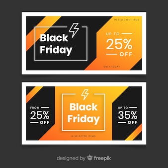 Banners de viernes negro de diseño plano