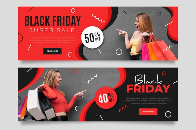 Banners de viernes negro con foto en diseño plano
