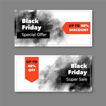 Banners de viernes negro de manchas de acuarela