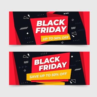 Banners de viernes negro con oferta.