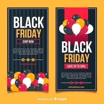Banners de viernes negro plano con globos