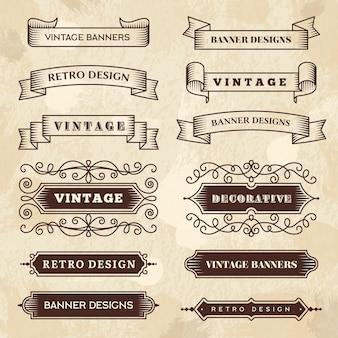 Banners vintage. boda florecer ornamento cintas grunge pizarra texturas insignias de estilo retro.