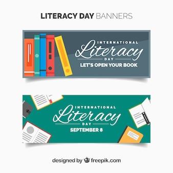 Banners vintage de celebración del día de la alfabetización