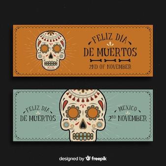 Banners vintage del día de los muertos