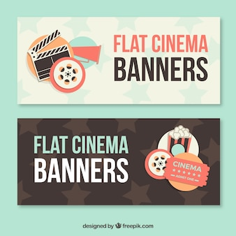 Banners vintage de elementos de cine