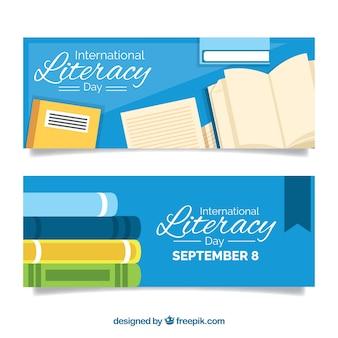Banners vintage de libros del día de la alfabetización