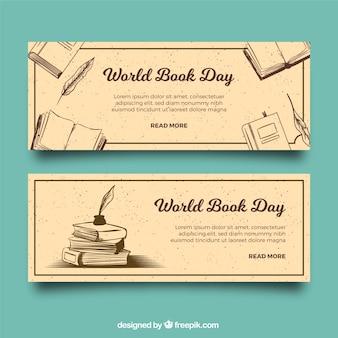 Banners vintage para el día mundial del libro