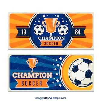 Banners vintage de torneo de fútbol
