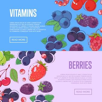 Banners de vitaminas naturales con bayas