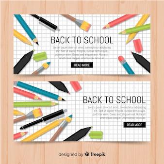Banners de la vuelta al cole en diseño plano