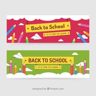 Banners de vuelta al colegio con lápices de colores