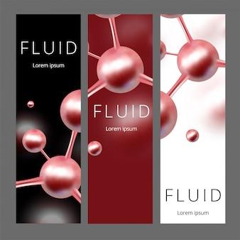 Banners web abstractos moleculares. ilustración. átomos antecedentes médicos para pancarta o folleto.