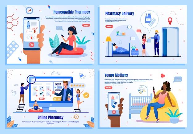 Banners web de aplicaciones móviles de farmacias en línea