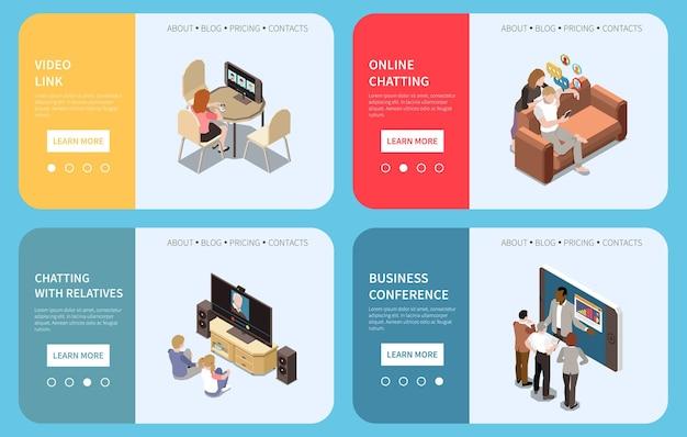 Banners web de chat en línea con conferencia de video enlace isométrica