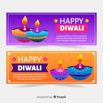 Banners web diwali en diseño plano