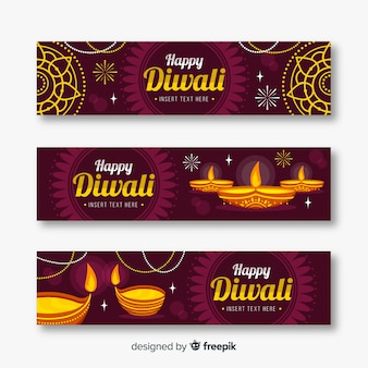 Banners web diwali de estilo plano