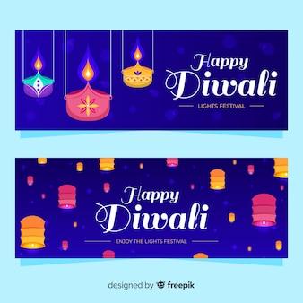 Banners web diwali planos con adornos tradicionales
