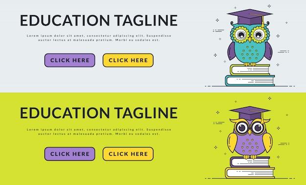Banners de web de educación con búho inteligente.