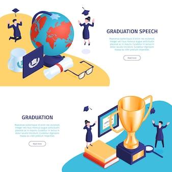 Banners web de graduación isométrica con libros y elementos del espacio de trabajo con texto editable y botón en el que se puede hacer clic