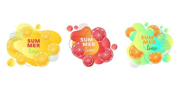 Banners web de horario de verano con frutas, limón, naranja, pomelo, formas líquidas abstractas y texto.