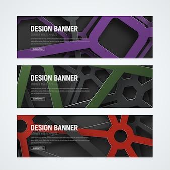 De banners web horizontales con formas geométricas que se cruzan en el aire en el fondo.