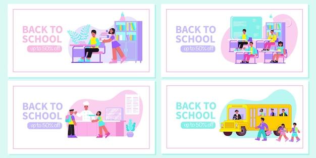 Banners de web plana de regreso a la escuela con ilustración de lección de aula de biblioteca