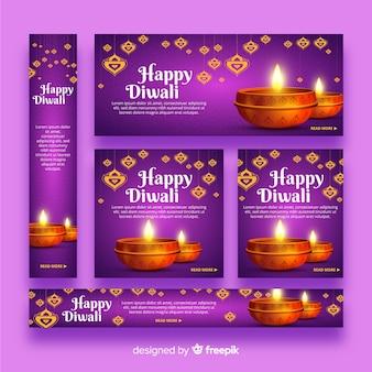 Banners web realistas de diwali