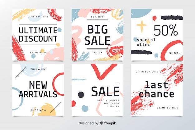 Banners web de venta dibujados a mano para redes sociales