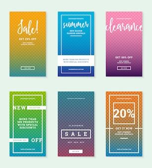 Banners de web de venta de moda de verano para publicaciones de instagram. promociones de descuento diseños editables plantillas con lugar para foto.