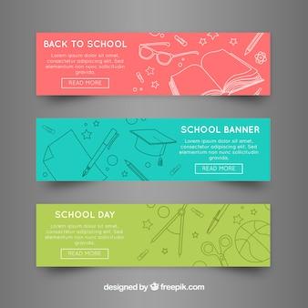 Banners web de vuelta al cole en tres colores